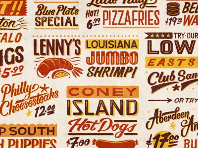 What's for lunch? typography lettering type diner usa print texture shadow hand drawn sign painting american