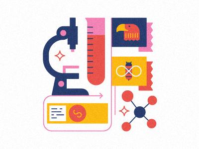 University Lab vector muti icons microscope illustration slide bee eagle flag arrow molecule test tube