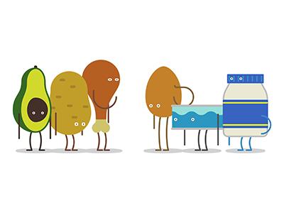 Food Crew illustration vector character avocado food potato drumstick egg tuna mayo eyes limbs
