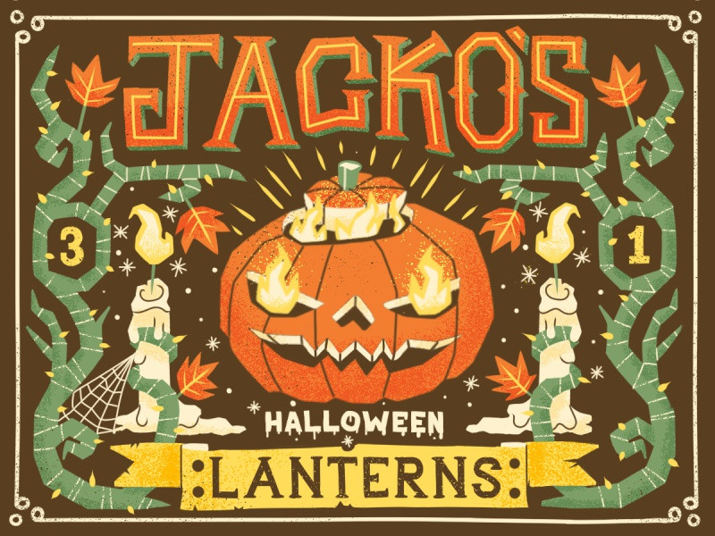 Jacko's Lanterns illustration typography lettering halloween candle flame banner label pumpkin horror web eyes