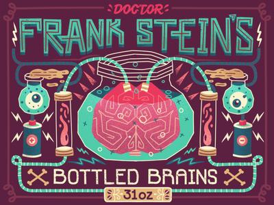 Frank Stein's Bottled Brains frankenstein brain eye electricity battery illustration jar science lettering typography halloween spark