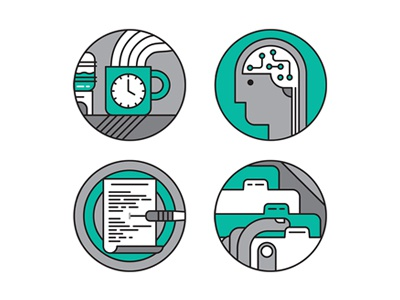 Office icons icons vector muti coffee cup brain head paper files hand round think