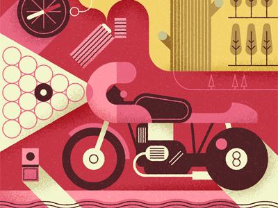 Bikes and billiards illustration vector texture motorcycle bike snooker pool billiards tree lighter compass ball