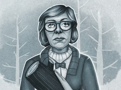 The Log Lady illustration character log series woman glasses hair face twin peaks crazy psychic