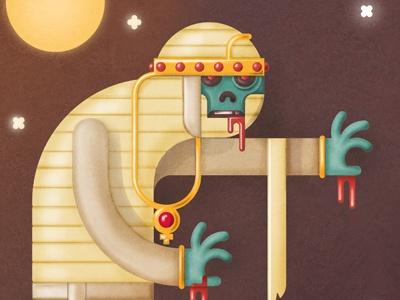 Back from the Dead illustration mummy egypt vector horror dead character ancient blood jewels moon digital painting