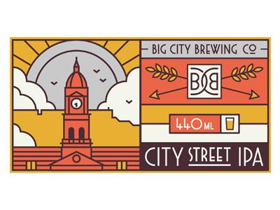 City Street IPA ipa table mountain town hall beer craft artisan label packaging branding muti arrow vector