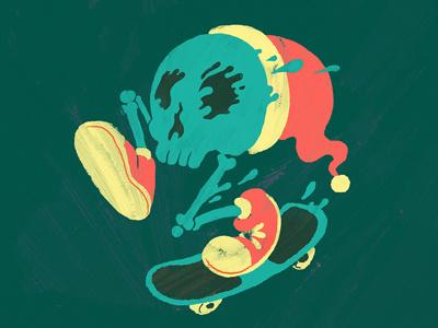 Xmas Skate Skull skull illustration muti xmas dripping hat skate shoes bones brush textures festive