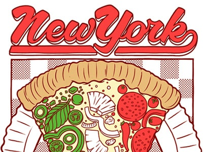 New York Pizza pizza tomato basil pepper cheese crust type lettering graphic new york drawing typography