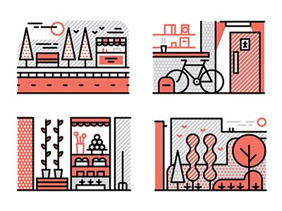Monocle Forecast vector icons illustration graphic design editorial monocle lines urban city muti environment