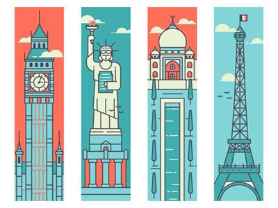 Tallest trees flag flame clock birds big ben eifel tower statue of liberty taj mahal