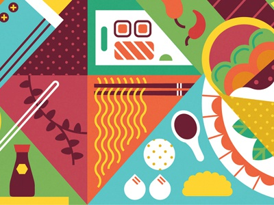 Variety chilli soy sauce dumpling burrito noodles sushi herbs vector pattern table cloth