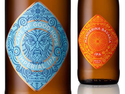 Cape Brewing Company beer label craft adamastor anchor compass mandarina pretzel hops tentacles design packaging