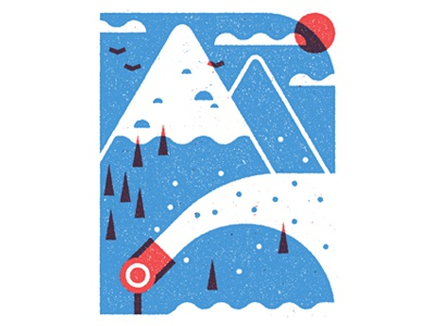 Monocle Alpino illustration spot editorial monocle alpino vector texture print snow winter slopes skiing
