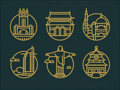 Travel the World icons cities rio dubai beijing istanbul vector travel clouds buildings structure capital