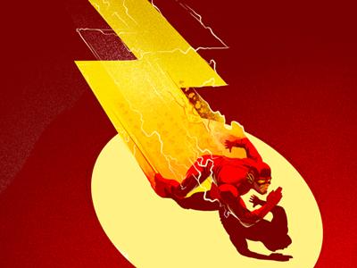 The Flash illustration character dc comic lightning flash run power speed fan art poster spotlight