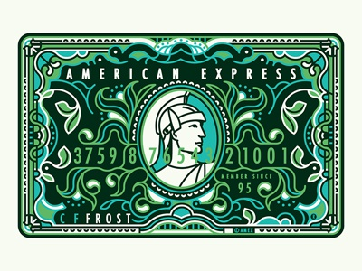 Amex Green Card illustration vector amex card banking money line pattern art border decorative custom