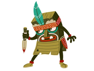 Tribal guy character illustration brush texture knife teeth feather stance face tribal tribe fight
