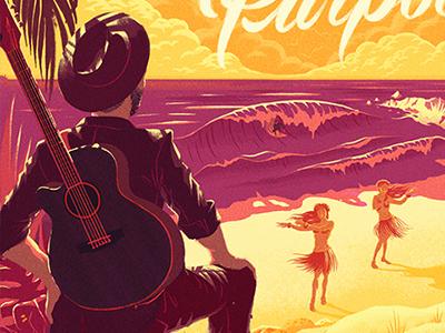 Twin Shadow in Hawaii! illustration character travel editorial texture hawaii beach guitar hula waves surfer palmtrees