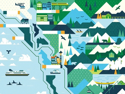 Travel Alaska map travel boat ship route whale helicopter bear building pattern mountains