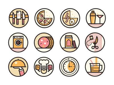 Best Restaurants icons illustration vector cincinnati magazine editorial knife pizza simple martini food round