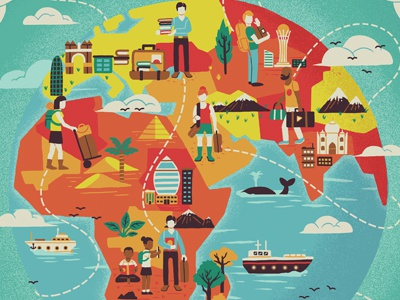 Pack for a Purpose globe world tourist travel flight landscape people bags ship whale birds cloud