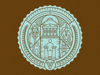 Virginia seal vector illustration icon seal stamp line clean school design wreath fortune editorial