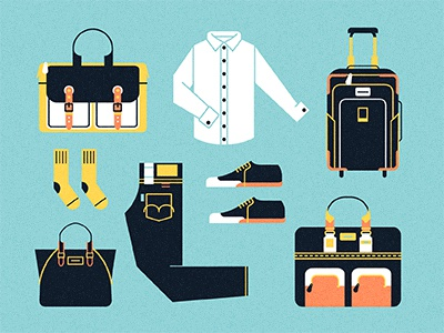 Leaving on a jet plane journey travel vector icons clothing suitcase bag texture shoes socks shirt packing