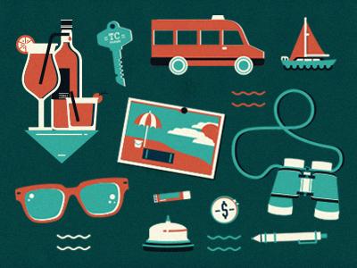 Vacation icons travel holiday key bus binoculars bell sunglasses drinks pen boat postcard