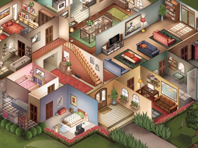 Altech illustration digital painting texture vector isometric painting interior floor plan architecture windows house home