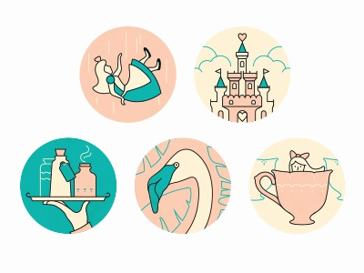 Alice in Wonderland icon vector hand cup leaves falling girl heart flamingo tray potion castle
