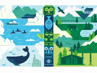Alaska mountains faces fish ocean river totem eagle bear ice boat whale