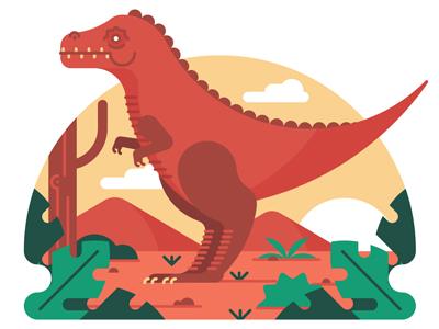 Jurassic tree cloud sun plant landscape character jurassic dinosaur icon illustration flat vector