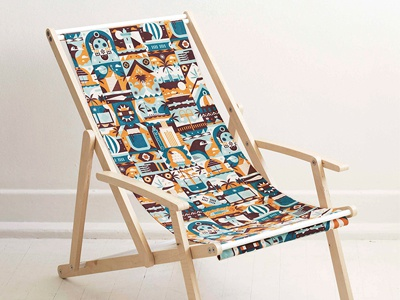 Mingo Lamberti - Holiday Collection icon illustration fabric rotary print deck chair vector design textiles pattern