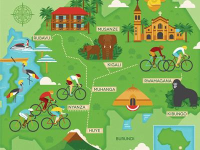 Tour of Rwanda church lake africa palms race birds elephant mountain gorilla route map cycle