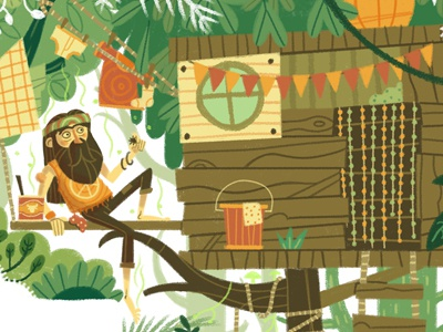 Natural High nature home laundry jungle tree treehouse hippy beard editorial drawing character illustration
