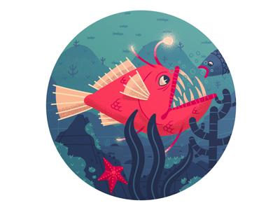 Don't go towards the light! monster swim teeth angler deep creature sea ocean fish character drawing illustration