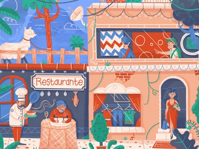 Lima lifestyle fashion llama art restaurant food street lima peru editorial drawing character illustration