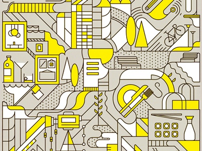 City Life vector abstract pattern knife trees lamp bicycle bar drinks gin sushi city