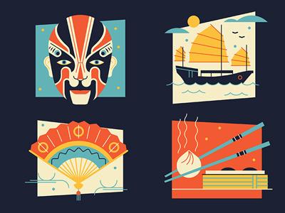 Hong Kong food travel chopsticks dim sum fan boat junk mask eastern icon vector illustration