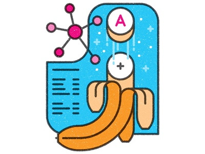 Going bananas slice science molecule flat graphic texture editorial time banana icons vector illustration