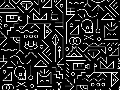 Getting Tribal tribal simple shape abstract africa skull line monochrome design vector illustration pattern