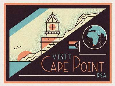 Cape Point flag vintage globe world travel tourist sun point lighthouse