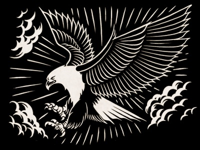 Soaring Eagle  emblem sky power bold feathers claws soaring flying eagle rays clouds