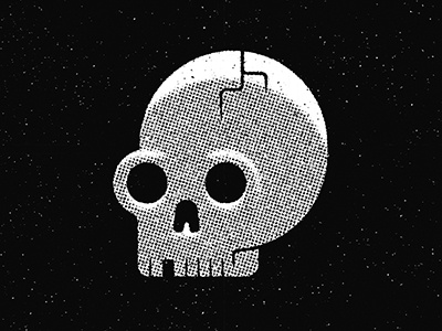Done and dusted black and white head dark crack skeleton grit texture death skull icon vector illustration