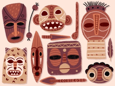 Africana Masks teeth eyes feather spier animal face african mask texture drawing character illustration