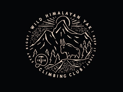 Wild Himalayan Yak Climbing Club icon badge logo club climbing mountain yak trees sun rays texture everest