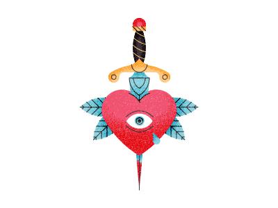 Weeping Heart icon texture sword tear heart leaves dagger eye vector illustration tattoo