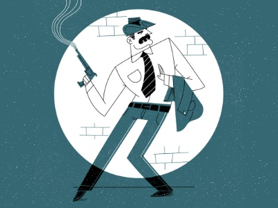 Noir Detective spotlight moustache hat gun film retro vintage detective noir drawing character illustration