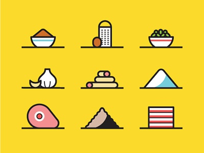 Mortadella ingredients eat recipe kitchen salt garlic nutmeg editorial sausage food illustration icon vector