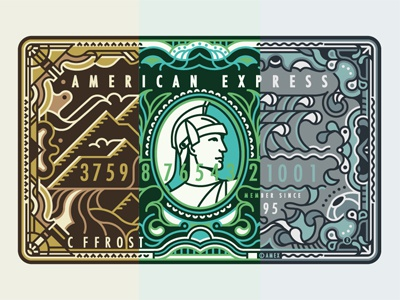 American Express line work american express deco pattern border decorative mountains jungle ocean amex cards